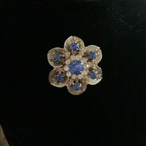 Vintage 6 Point Gold and Dark Blue Brooch -
